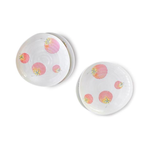 """Tomato Porcelain Plate  6-1/2"""" Irregular White, Set of 4"""