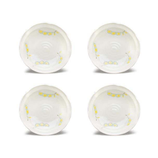 """Edamame Porcelain Plate 8"""" Irregular White, Set of 4"""
