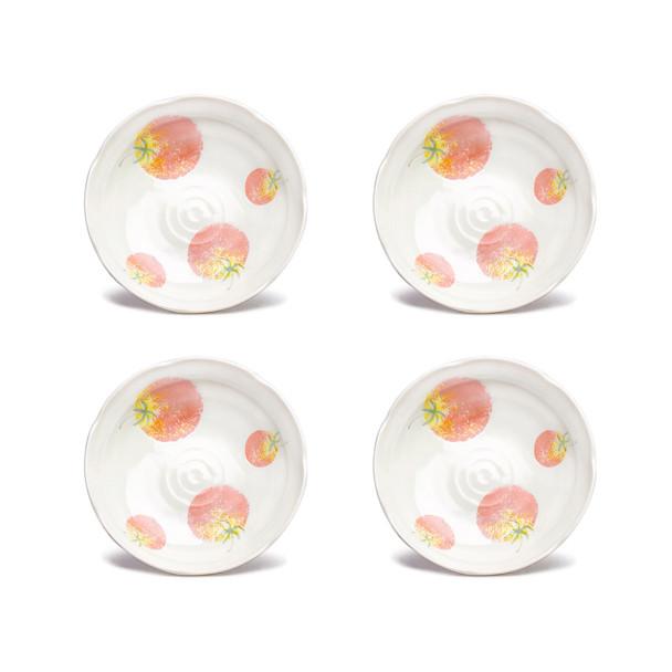 """Tomato Porcelain Plate 8"""" Irregular White, Set of 4"""