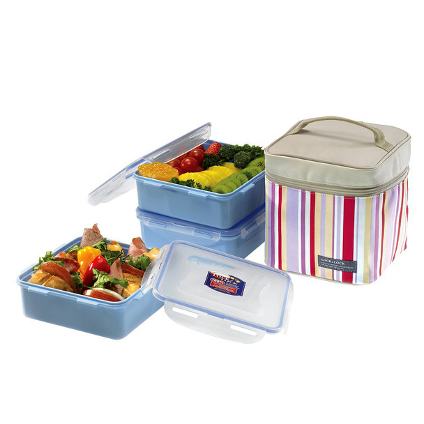 Lock & Lock Lunch Box 3pc Set w/ Insulated Bag, Pink