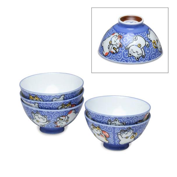 Kids Kitty Cat Bowl Set of 5, Blue