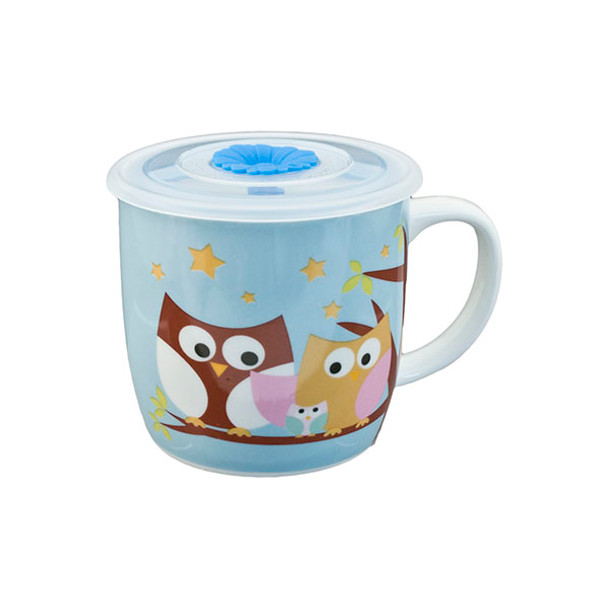 "Cute Blue Night Owl Mug with Lid 3.5""H"