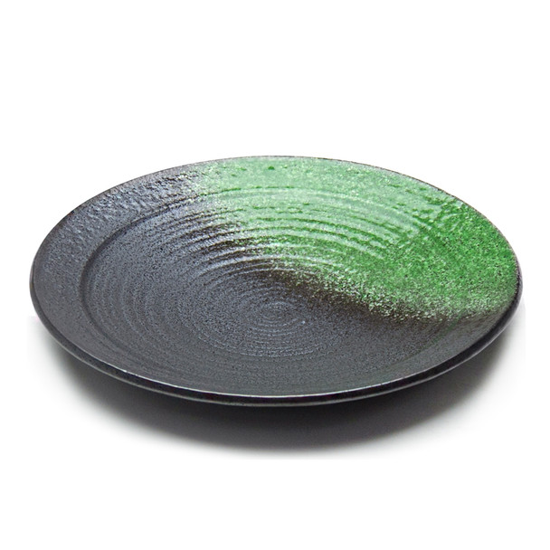 "JX Green Accent Black Round Dinner Plate 10""D - Set of 5"