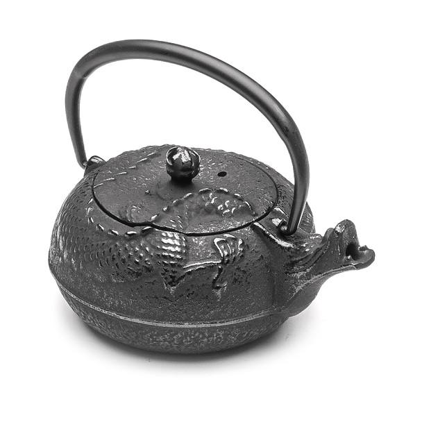 Tetsubin Cast Iron Teapot - Rearing Dragon 10 oz, Black