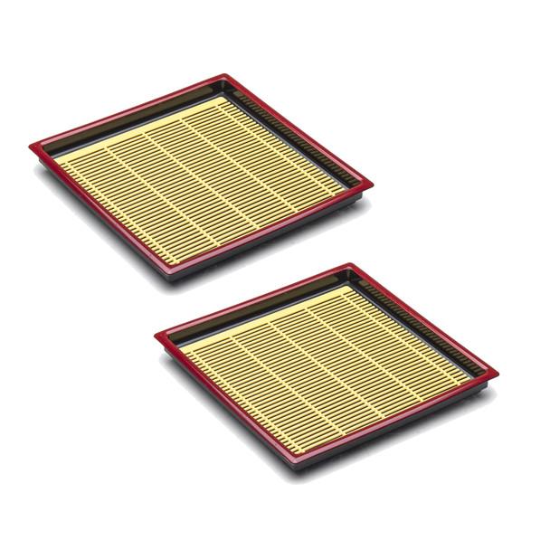 "Lacquer Square Soba Plate 7.5"" - 2pc Set, Black/Red"