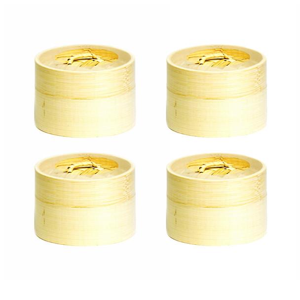 """Mini Bamboo Steamer Set 4"""" Diameter - Set of 4"""
