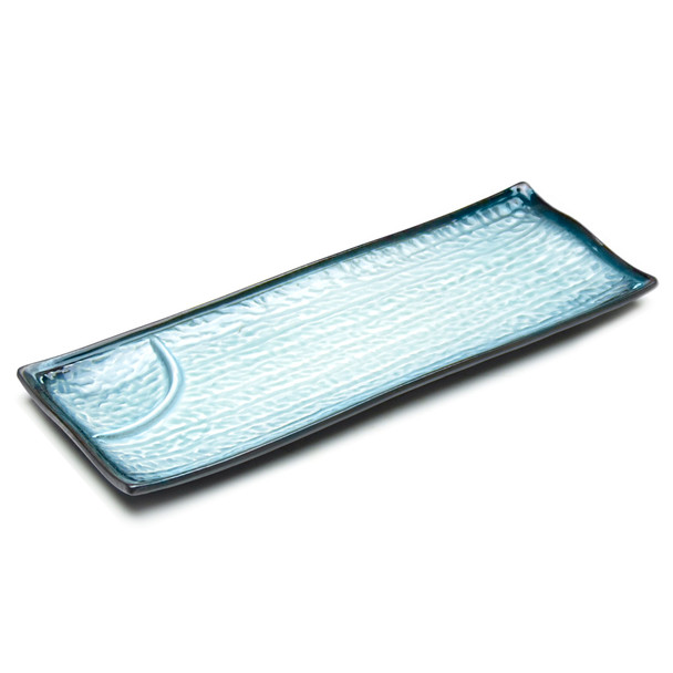 """JX Blue Gradient Sushi Plate 2-Compartment 12.25"""" - Set of 5"""