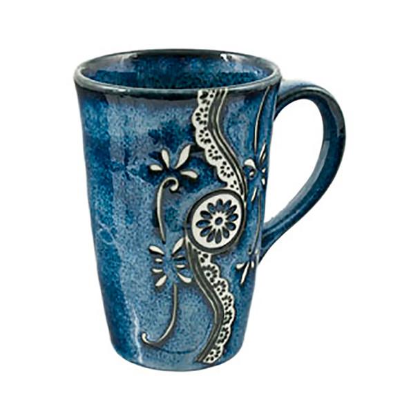 Indigo Blue Floral Coffee Mug 12oz