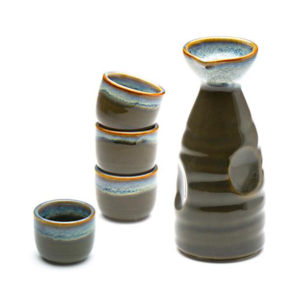Porcelain Sake Set Chun Glaze, Olive Green - 1 Bottle & 4 Cups