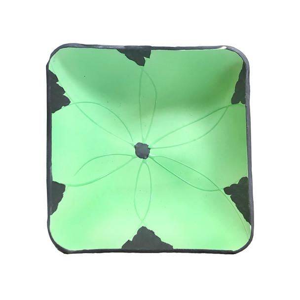 "Seafoam Green Flower Square Medium Bowl Set of 4, 5.25""x2""H"