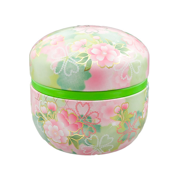 "Spring Flower Japanese Chazutsu Stainless Steel Tea Canister 3""x3""H, Green"