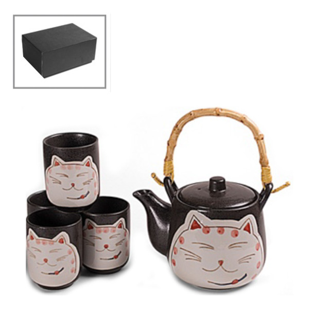 Shy Cat Tea Set - Teapot with Strainer and 4 Teacups