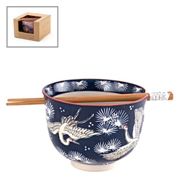 Crane Bowl w/ Chopstick - Blue