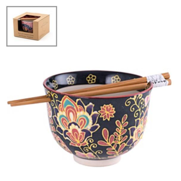 Botanical Bowl w/ Chopstick - Black