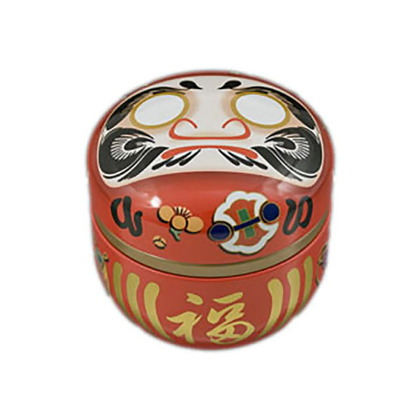 """Daruma Doll Japanese Chazutsu Stainless Steel Tea Canister 3""""x3""""H, Red"""