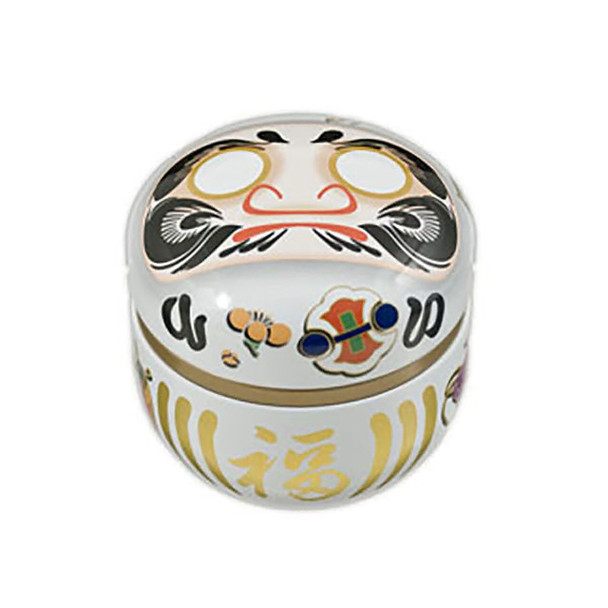 "Daruma Doll Japanese Chazutsu Stainless Steel Tea Canister 3""x3""H, White"