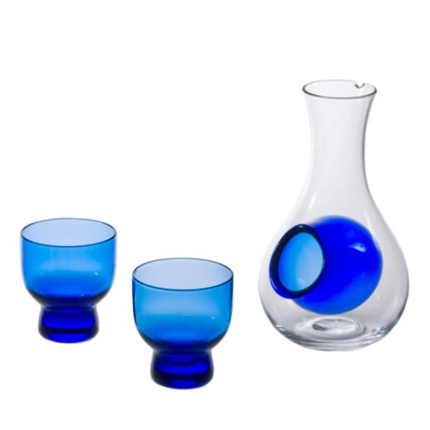 Blue Bulb Glass Sake Set, Bottle and 2 Cups