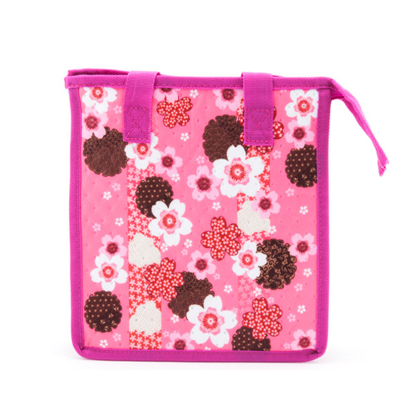 "Insulated Lunch Bag with Zipper 10.25"" x 6.5"" x 11"" - Pink Sakura"