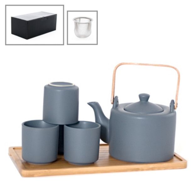 Satin Solid Color Tea Set with Bamboo Tray (Dark Grey) - Teapot with Strainer and 4 Teacups