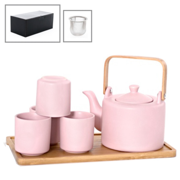 Satin Solid Color Tea Set with Bamboo Tray (Pink) - Teapot with Strainer and 4 Teacups