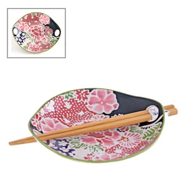 "Flower Plate with Chopstick Set 6.75""x1""H"