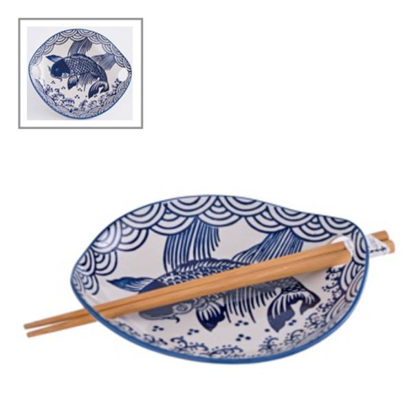 "Catfish Plate with Chopstick Set 6.75""x1""H"