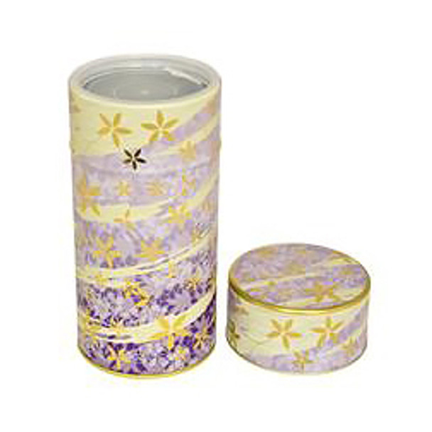 "Flower Wave Tin Tea Canister Container 6""H, Purple"