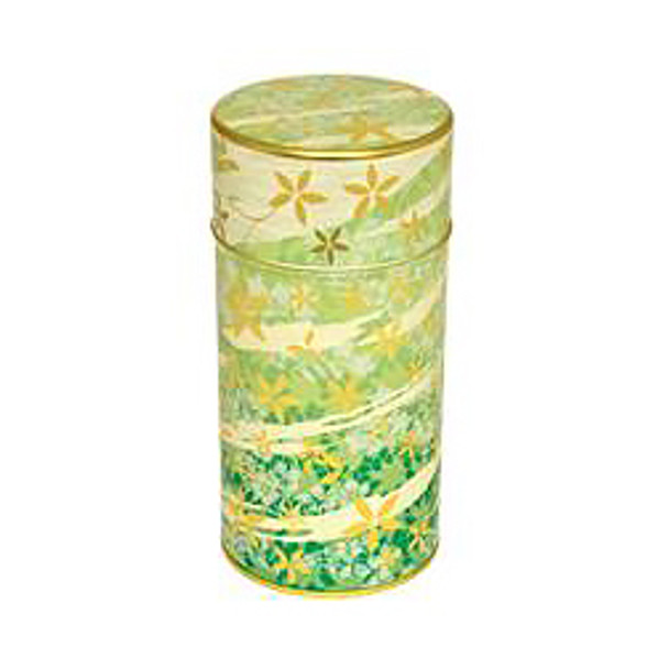 "Flower Wave Tin Tea Canister Container 6""H, Green"