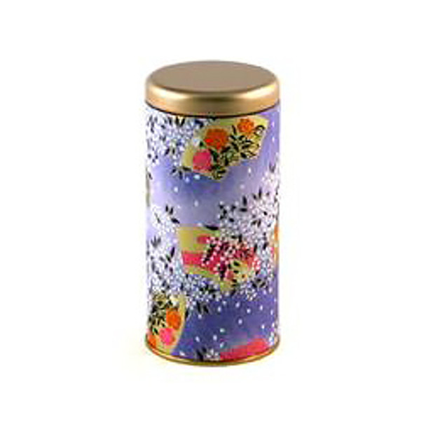 """Fan & Flower Tin Tea Canister Container 6""""H, Purple"""