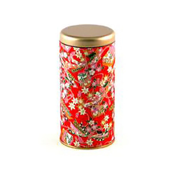 "Mix Flower Tin Tea Canister Container 6""H, Red"