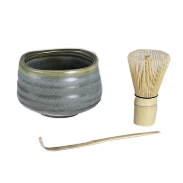 Matcha Set, Matcha Chawan Bowl, Whisk and Spoon - Grey Green