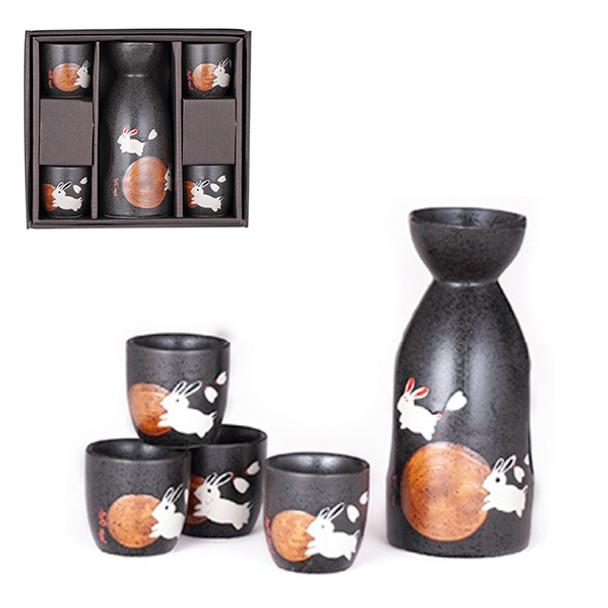 Moon Rabbit Sake Set, 1 Bottle and 4 Cups