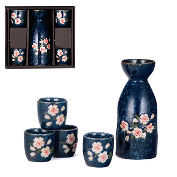 Blue Sakura Sake Set, 1 Bottle and 4 Cups