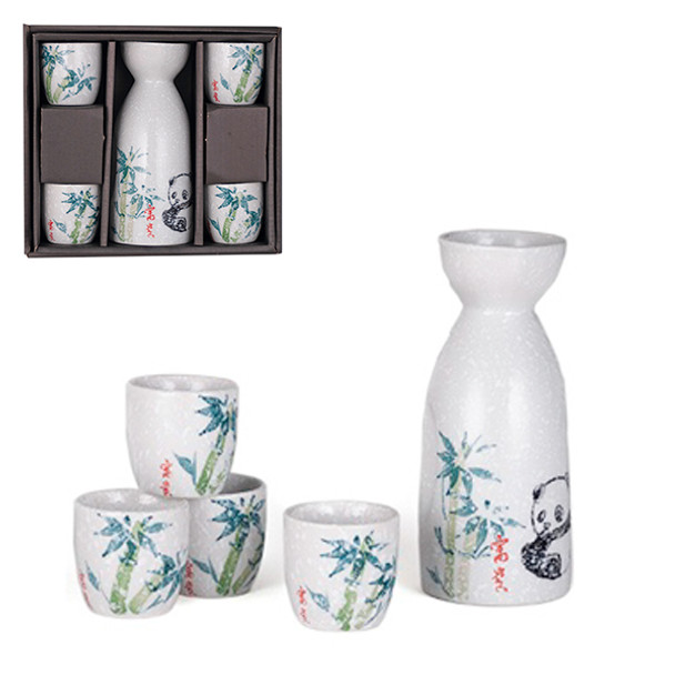 Panda Sake Set, 1 Bottle and 4 Cups - White