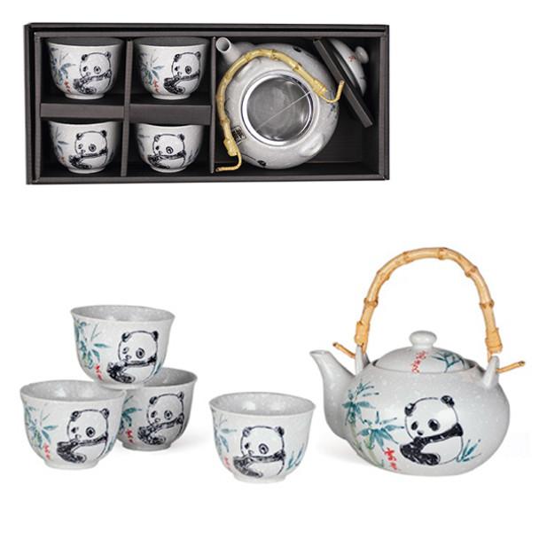 Panda Tea Set - Teapot with Strainer and 4 Teacups