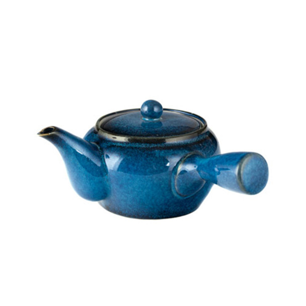 Tokoname Kyusu Teapot with Strainer 20 oz - Blue Tenmoku Ceramic