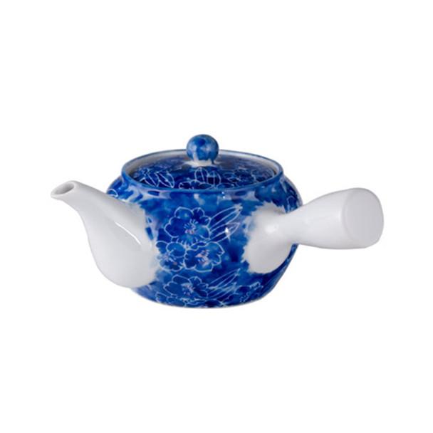 Tokoname Kyusu Teapot with Strainer 20 oz - Blue Flower