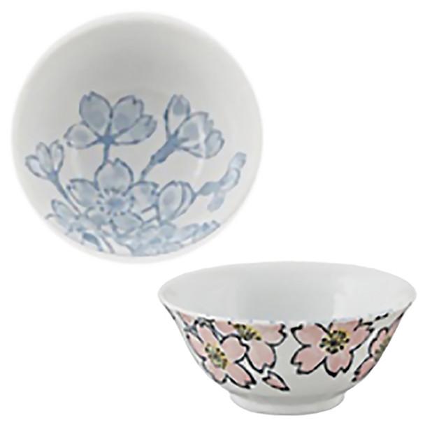 """Sakura Medium Bowl 6pc Set, Pink & White - 5.25"""""""