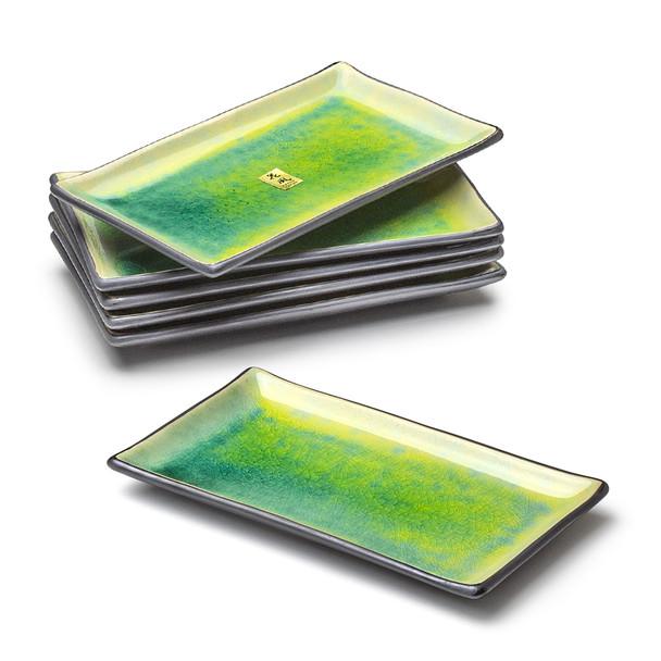 Crackle Rectangular Plate Set, Green