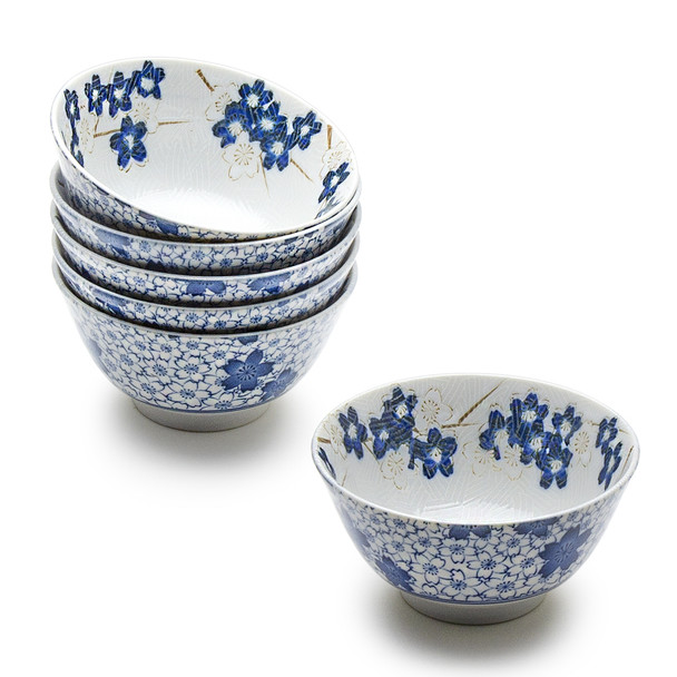 "Sakura Medium Bowl 6pc Set, Blue & White - 5.25"""