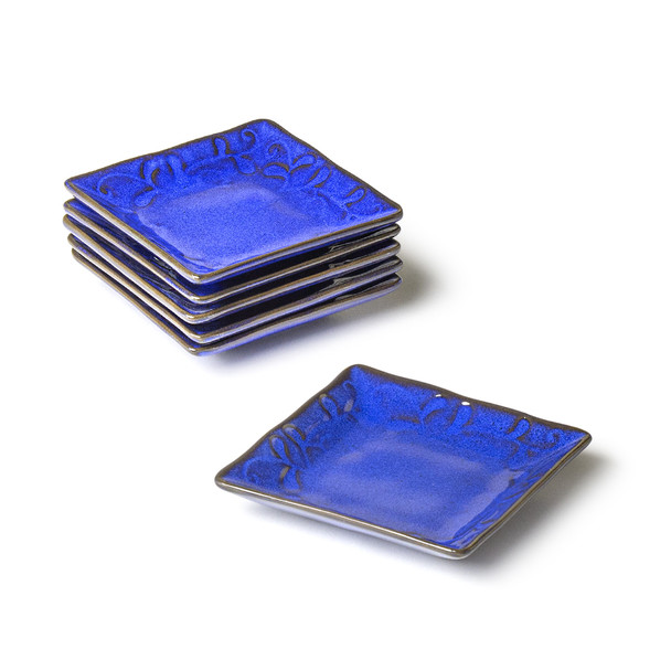 Blue Square Plate Set - 4.25""