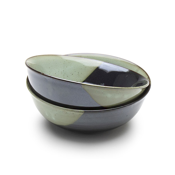 "Green Glaze Bowl Set - 6""D"