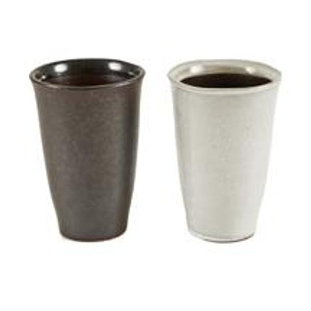 Brown & White Ceramic Beer Tumbler - 2 pcs 4.5 oz