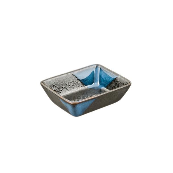 "Blue Glaze Rectangular Sauce Bow Set - 6pcs 3.25""L"