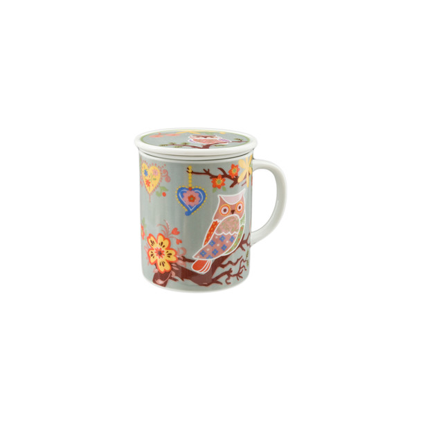 Colorful Owl Mug with Lid and Strainer