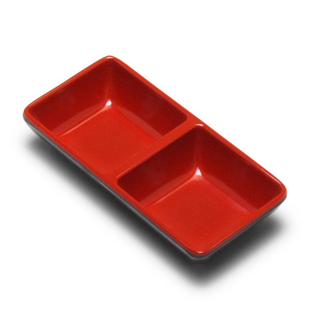 Melamine 2-Divided Sauce Plate, 24pc (Black/Red)