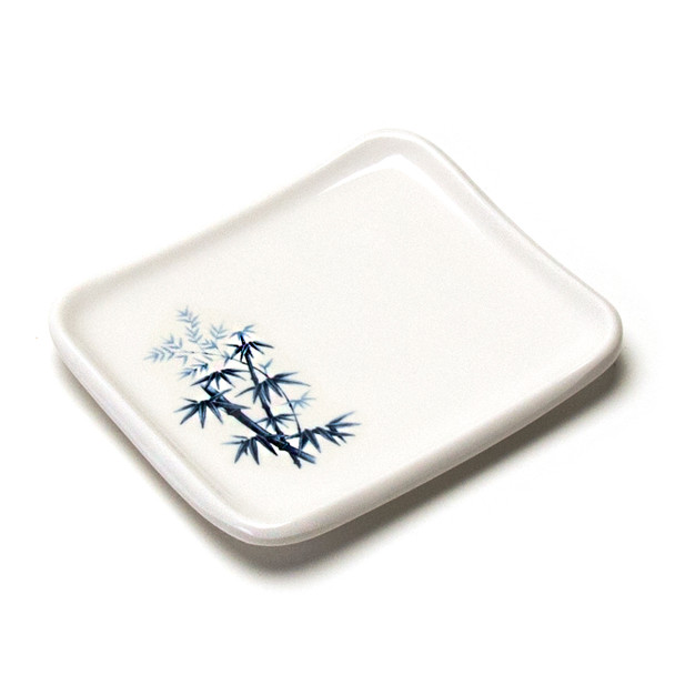 "Melamine Rectangle Side Dish, 12pc, 5-1/2""x4"" (Elegant Blue Bamboo)"