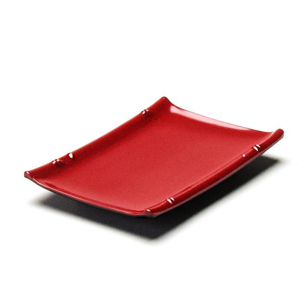 "Melamine Rectangle Sushi Plate, 12pc, 6-1/2""x4-1/2"" (Black/Red)"