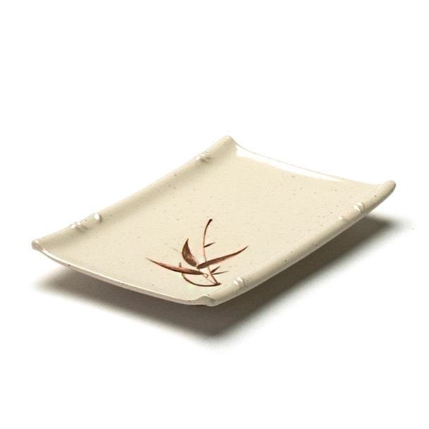 "Melamine Rectangle Sushi Plate, 12pc, 6-1/2""x4-1/2"" (Autumn Grass)"