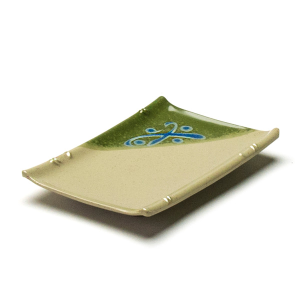 "Melamine Rectangle Sushi Plate, 12pc, 6-1/2""x4-1/2"" (Green)"